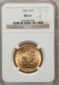 Indian Eagles: , 1926 $10 MS61 NGC. NGC Census: (3936/28264). PCGS Population(2698/24170). Mintage: 1,014,000. Numismedia Wsl. Price for pr...