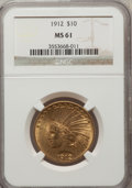 Indian Eagles: , 1912 $10 MS61 NGC. NGC Census: (1502/3576). PCGS Population(629/2934). Mintage: 405,083. Numismedia Wsl. Price for problem...