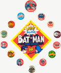 Memorabilia:Superhero, Batman Vintage Pinback Group (1966).... (Total: 15 Items)