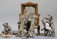 THREE AUSTRIAN COLD-PAINTED BRONZE FIGURES: CATS GROOMING Circa 1900 4 inches high (10