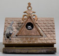 Sculpture, AN AUSTRIAN COLD-PAINTED FIGURAL BRONZE CIGARETTE DISPENSER: CATS ON ROOF . Circa 1900 . 3-1/2 inches high (...