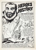 "Original Comic Art:Splash Pages, Vernon Henkel ""Heroes of History Sir Francis Drake"" Splash PageOriginal Art (c. 1930s)...."