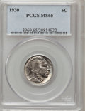 Buffalo Nickels: , 1930 5C MS65 PCGS. PCGS Population (1003/337). NGC Census:(400/89). Mintage: 22,849,000. Numismedia Wsl. Price for problem...