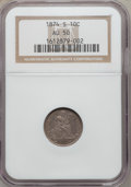 Seated Dimes, 1874-S 10C Arrows AU50 NGC. Small Thin S. NGC Census: (4/46). PCGSPopulation (3/40). Mintage: 240,000. Numismedia Wsl. Pri...