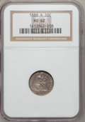 Seated Dimes, 1889-S 10C MS62 NGC. AH-3, R-5. NGC Census: (12/33). PCGSPopulation (12/29). Mintage: 972,678. Numismedia Wsl. Price forp...