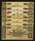 Confederate Notes:1864 Issues, T67 $20 1864 Seven Examples Very Good or Better.. ... (Total: 7 notes)