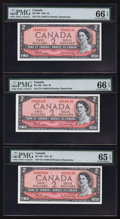 Canadian Currency: , BC-38b $2 1954 Five Consecutive Examples. ... (Total: 5 notes)