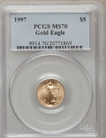 Modern Bullion Coins: , 1997 G$5 Tenth-Ounce Gold Eagle MS70 PCGS. PCGS Population (113).NGC Census: (626). Mintage: 528,515. Numismedia Wsl. Pric...
