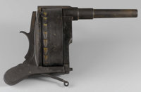 """ODDITY OR CURIO """"GRINDER"""" REVOLVER - Probably a patent model or experiment; tooled steel with ratcheting cylin..."""