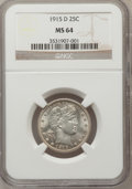 Barber Quarters: , 1915-D 25C MS64 NGC. NGC Census: (152/89). PCGS Population(194/162). Mintage: 3,694,000. Numismedia Wsl. Price for problem...