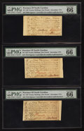 Colonial Notes:North Carolina, North Carolina December, 1771 £1 PMG Gem Uncirculated 66 EPQ. Three Examples. . ... (Total: 3 notes)