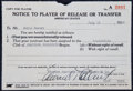 Baseball Collectibles:Others, 1939 Eddie Collins Signed Transfer Document....
