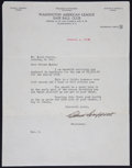 Baseball Collectibles:Others, 1938 Clark Griffith Signed Letter. ...