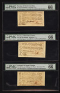 Colonial Notes:North Carolina, North Carolina December, 1771 10s PMG Gem Uncirculated 66 EPQ. TwoExamples.. North Carolina December, 1771 £1 PMG Gem Unc... (Total:3 notes)