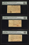 Colonial Notes:North Carolina, North Carolina December, 1771 2s 6d PMG Gem Uncirculated 66 EPQ. Three Examples.. ... (Total: 3 notes)