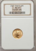 Modern Bullion Coins: , 2001 G$5 Tenth-Ounce Gold Eagle MS69 NGC. NGC Census: (5828/3355).PCGS Population (2237/36). Numismedia Wsl. Price for pr...