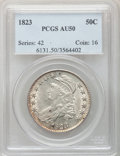 Bust Half Dollars: , 1823 50C AU50 PCGS. PCGS Population (91/421). NGC Census: (38/461).Mintage: 1,694,200. Numismedia Wsl. Price for problem f...