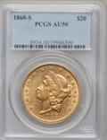 Liberty Double Eagles: , 1868-S $20 AU50 PCGS. PCGS Population (97/194). NGC Census:(172/785). Mintage: 837,500. Numismedia Wsl. Price for problem ...