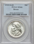 Commemorative Silver: , 1935/34-D 50C Boone MS66 PCGS. PCGS Population (165/57). NGCCensus: (116/60). Mintage: 2,003. Numismedia Wsl. Price for pr...