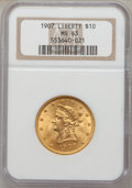 Liberty Eagles: , 1907 $10 MS63 NGC. NGC Census: (5593/1094). PCGS Population(3357/628). Mintage: 1,203,973. Numismedia Wsl. Price for probl...