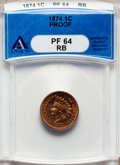 Proof Indian Cents: , 1874 1C PR64 Red and Brown ANACS. NGC Census: (36/51). PCGSPopulation (98/42). Mintage: 700. Numismedia Wsl. Price for pro...