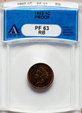 Proof Indian Cents: , 1902 1C PR63 Red and Brown ANACS. NGC Census: (24/264). PCGSPopulation (29/183). Mintage: 2,018. Numismedia Wsl. Price for...