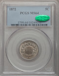 Shield Nickels: , 1872 5C MS64 PCGS. CAC. PCGS Population (96/53). NGC Census:(61/48). Mintage: 6,036,000. Numismedia Wsl. Price for problem...