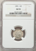 Barber Dimes: , 1895 10C AU55 NGC. NGC Census: (3/89). PCGS Population (14/98).Mintage: 690,000. Numismedia Wsl. Price for problem free NG...