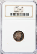 Proof Barber Dimes: , 1897 10C PR64 NGC. NGC Census: (44/88). PCGS Population (58/93).Mintage: 731. Numismedia Wsl. Price for problem free NGC/P...