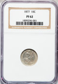 Proof Seated Dimes: , 1877 10C PR62 NGC. NGC Census: (14/81). PCGS Population (39/87).Mintage: 510. Numismedia Wsl. Price for problem free NGC/P...