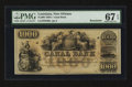 Obsoletes By State:Louisiana, New Orleans, LA- Canal Bank $1000 18__ G80a. ...