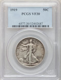 Walking Liberty Half Dollars: , 1919 50C VF30 PCGS. PCGS Population (19/463). NGC Census: (10/324).Mintage: 962,000. Numismedia Wsl. Price for problem fre...