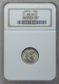 Barber Dimes: , 1913 10C MS65 NGC. NGC Census: (78/19). PCGS Population (87/30).Mintage: 19,760,622. Numismedia Wsl. Price for problem fre...