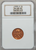 Lincoln Cents: , 1998-D 1C MS68 Red NGC. PCGS Population (40/2). Numismedia Wsl.Price for problem free NGC/PCGS coin i...
