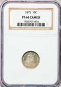 Proof Seated Dimes: , 1875 10C PR64 Cameo NGC. NGC Census: (11/21). PCGS Population(15/11). (#84772)...