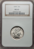 Barber Quarters: , 1898 25C MS63 NGC. NGC Census: (50/110). PCGS Population (61/104).Mintage: 11,100,735. Numismedia Wsl. Price for problem f...