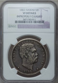 Coins of Hawaii: , 1883 $1 Hawaii Dollar -- Improperly Cleaned -- NGC Details. VF. NGCCensus: (2/303). PCGS Population (1/582). Mintage: 500,...