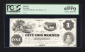 Obsoletes By State:Iowa, Des Moines, IA- City of Des Moines $1 Oakes 36-1 Special Proof. ...