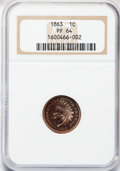 Proof Indian Cents: , 1863 1C PR64 NGC. NGC Census: (96/74). PCGS Population (73/30).Mintage: 460. Numismedia Wsl. Price for problem free NGC/PC...