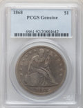 Seated Dollars, 1868 $1 PCGS Genuine. The PCGS number ending in .92 suggestsCleaning as the reason, or perhaps one of the reasons, that PC...