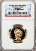 Proof Presidential Dollars, 2010-S $1 Franklin Pierce PR70 Ultra Cameo NGC. NGC Census:(3,155). PCGS Population (168). Numismedia Wsl. Price for prob...