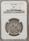 Walking Liberty Half Dollars: , 1916-S 50C Good 6 NGC. NGC Census: (23/550). PCGS Population(62/979). Mintage: 508,000. Numismedia Wsl. Price for problem ...