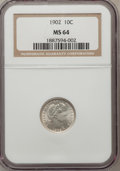 Barber Dimes: , 1902 10C MS64 NGC. NGC Census: (48/29). PCGS Population (39/38).Mintage: 21,380,776. Numismedia Wsl. Price for problem fre...
