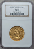 Liberty Eagles: , 1850 $10 Large Date AU53 NGC. NGC Census: (59/132). PCGS Population(18/30). Mintage: 291,451. Numismedia Wsl. Price for pr...