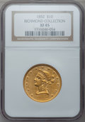 Liberty Eagles: , 1852 $10 XF45 NGC. Ex: Richmond Collection. NGC Census: (83/439).PCGS Population (75/130). Mintage: 263,106. Numismedia Ws...