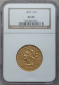 Liberty Eagles: , 1843 $10 XF45 NGC. NGC Census: (47/83). PCGS Population (31/25).Mintage: 75,462. Numismedia Wsl. Price for problem free NG...