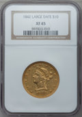 Liberty Eagles: , 1842 $10 Large Date XF45 NGC. NGC Census: (26/31). PCGS Population(18/43). Mintage: 81,507. Numismedia Wsl. Price for prob...