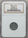 Seated Dimes, 1850 10C MS62 NGC. A-1, R-4. NGC Census: (11/66). PCGS Population(18/46). Mintage: 1,931,500. Numismedia Wsl. Price for pr...