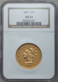 Liberty Eagles: , 1841 $10 AU53 NGC. NGC Census: (26/58). PCGS Population (11/25).Mintage: 63,131. Numismedia Wsl. Price for problem free NG...