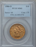 Liberty Eagles: , 1906-O $10 MS61 PCGS. PCGS Population (50/135). NGC Census:(73/139). Mintage: 86,895. Numismedia Wsl. Price for problem fr...